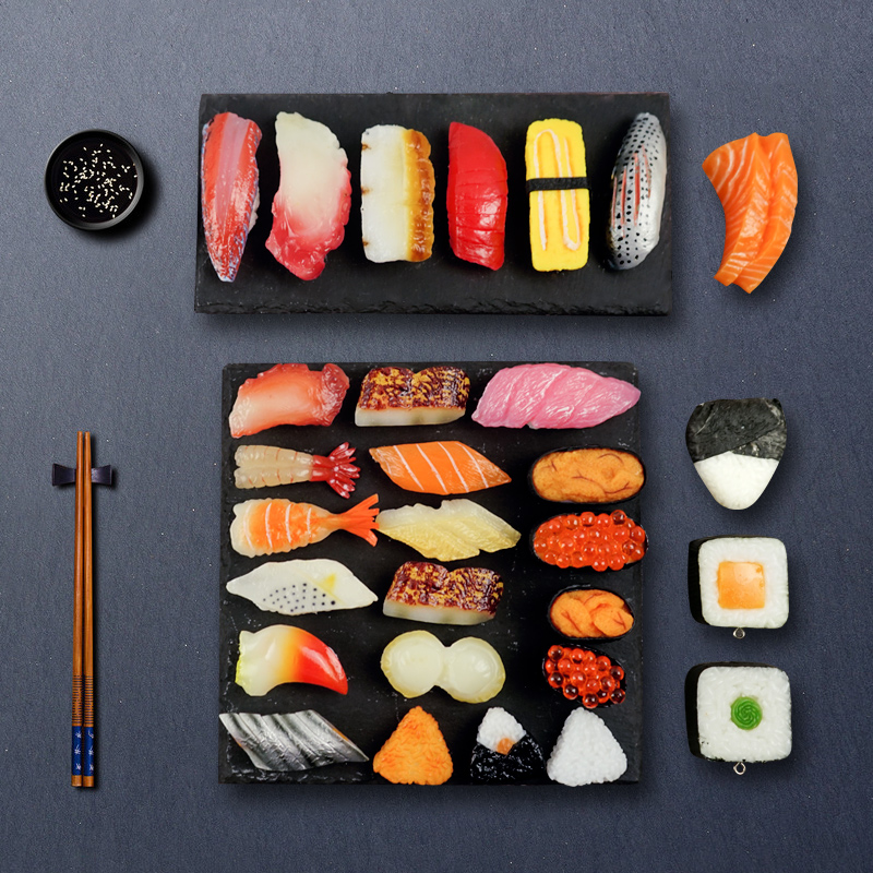 Miniatures Artificial Fake Sushi Simulation Cute Pvc Material Fish Prawns Salmon Slices Model Painting Props Supplies 12pcs/set
