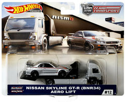 Hot Wheels Car NISSAN SKYLINE GT-R BNR34 AERO LIFT  Car Culture Team Transport Real Riders Metal Diecast Model Car