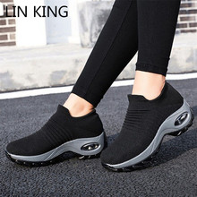 LIN KING Women Outdoor Casual Sport Shoes Big Size Non Slip Sneakers Slip On Loafers Comfortable Height Increase Swing Shoes