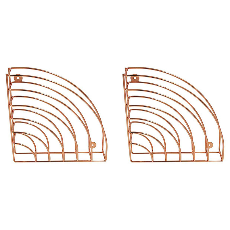 2 Packs Hanging File Holder Organizer Metal Wire Basket Geometric Shelf Wall Mount Magazine Rack, Rose Gold