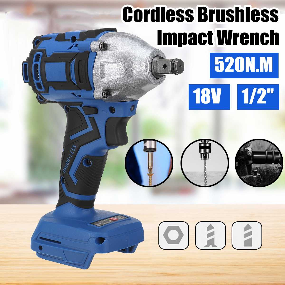 18V 520N.m. Li-Ion Cordless Impact Wrench 1/2'' Electric Wrench Replacement For Makita Battery