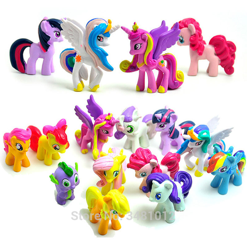 12pcs My Little Pony Unicorn Figure Princess Pet Shop Toy Horses Princess Figures Celestia Ponei Figurines Kucyk