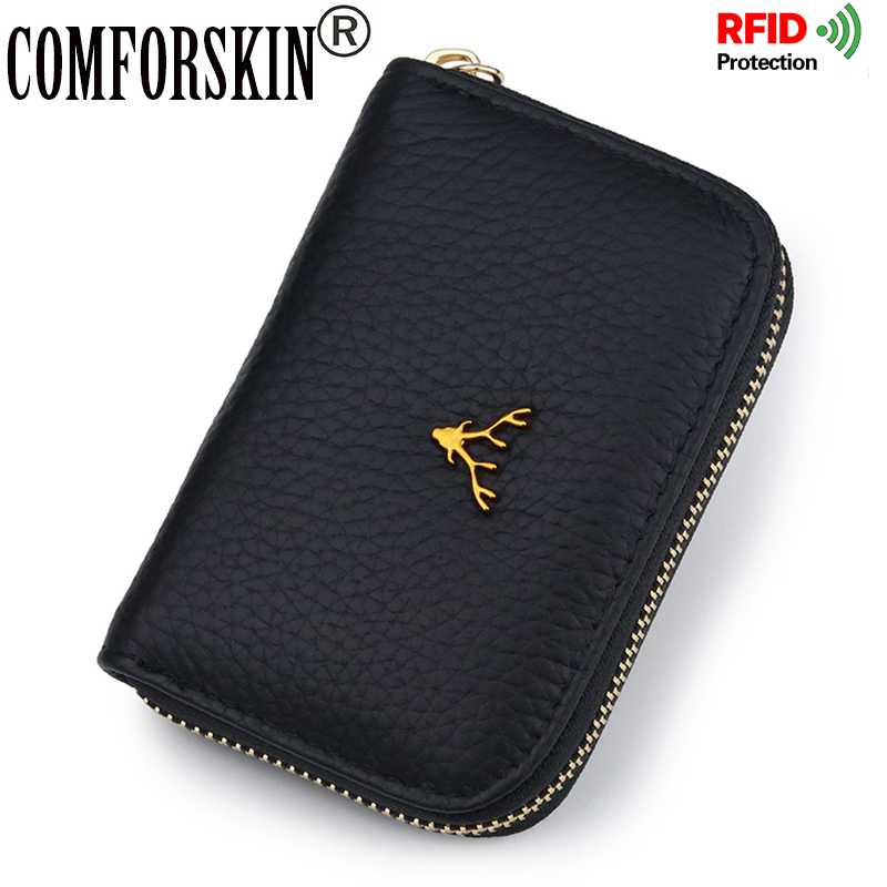 COMFORSKIN Premium 100% Genuine Leather RFID Protecting Card Wallet Large Capacity Business Card Case Animal Prints Card Holder