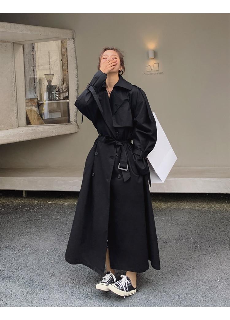 Hd75f407fe2794aeca41344a319718852S Korean Style Loose Oversized X-Long Women's Trench Coat Double-Breasted Belted Lady Cloak Windbreaker Spring Fall Outerwear Grey