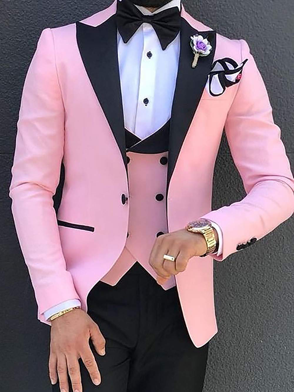 New Pink Men's 3-Pieces Suit Casual Solid Slim Fit Peak Lapel Tuxedos Double-breasted Vest For Wedding (Blazer+vest+Pants)