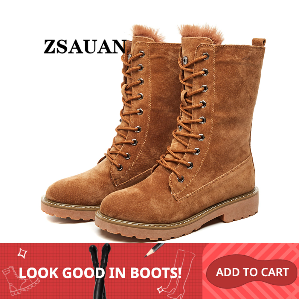ZSAUAN Winter Women Snow Boots Fashion Genuine Leather Round Toe Women's Boots Middle Tube High Top Female Girl Shoes Warm