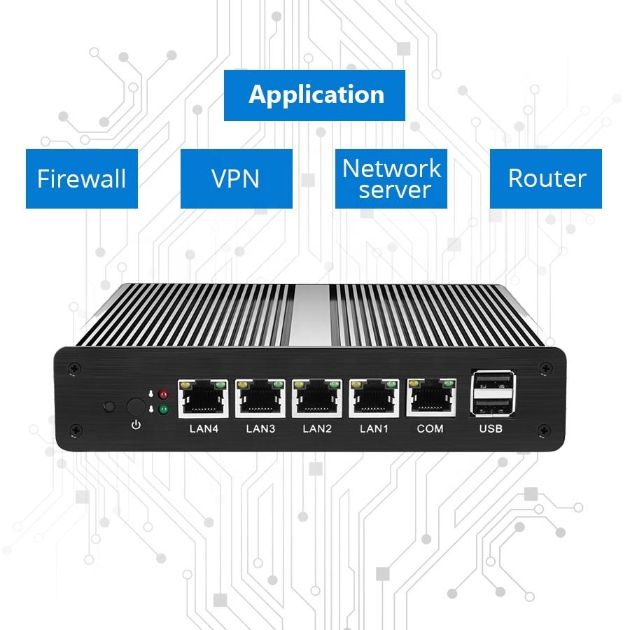 Fanless Mini PC Intel Celeron 1007U 1037U Processors 6*LAN Ports Intel NIC RJ-45 Consel Firewall Router Run Pfsense RouterOS