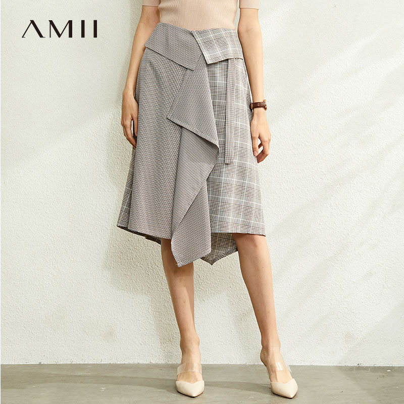 Amii Minimalist Irregular Plaid Paneled Skirt Women Spring Fashion High Waist Female Casual Skirt 12070048