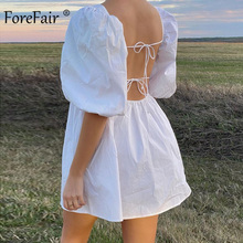 Forefair Vintage Square Neck Puff Sleeve Mini White Backless Dress Wome