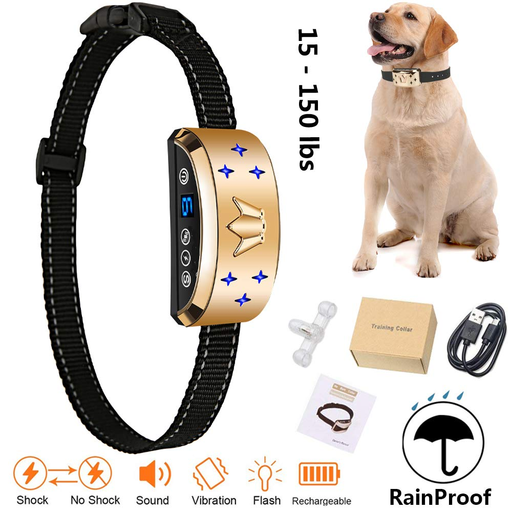 Rechargeable Dog Shock Collar For Small Large Medium Dogs Vibration Pet Repeller Anti Barking Electronic Shock Training Collar