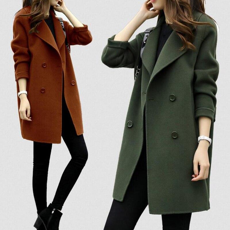 Femmes laine mélange chaud Long manteau grande taille femme mince s'adapte revers laine pardessus automne hiver cachemire vêtements d'extérieur manteau femme