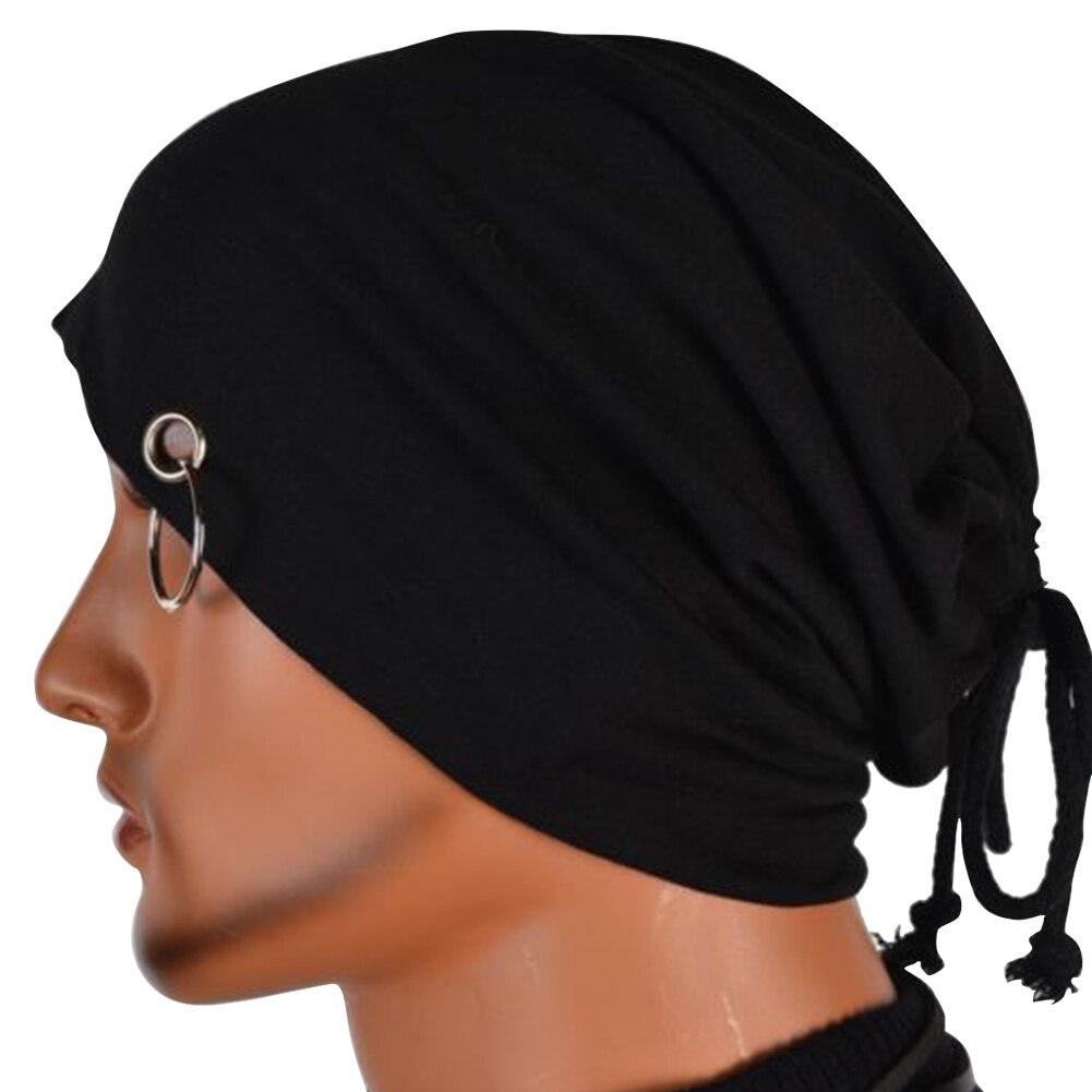 Drawstring Beanie Men Women Winter Stacking Wrap Hip Hop Headwear Cool Warm Slouchy Soft Ring Decoration Ski Cap Casual Hat