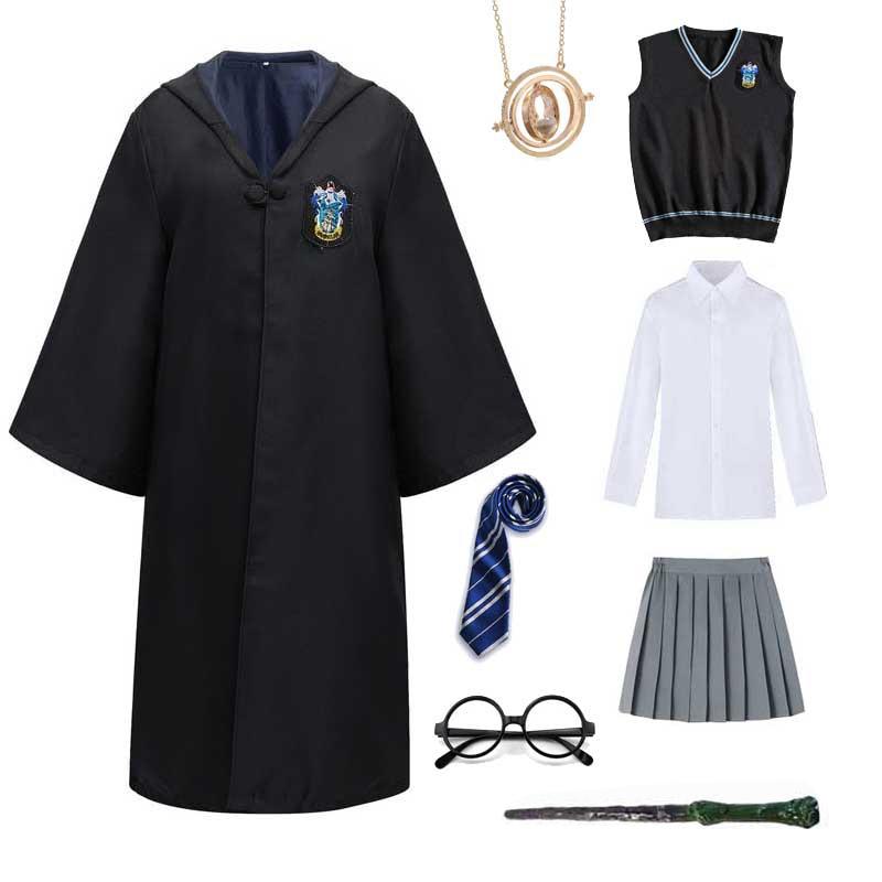 Cosplay traje potter haloween trajes magia robe cabo terno gravata cachecol camisola hermione varinha óculos potter cosplay acessórios