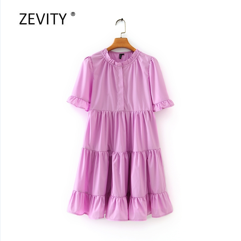 Zevity New women sweet cascading ruffles solid color casual A line dress female short sleeve pleats vestido chic dresses DS4057