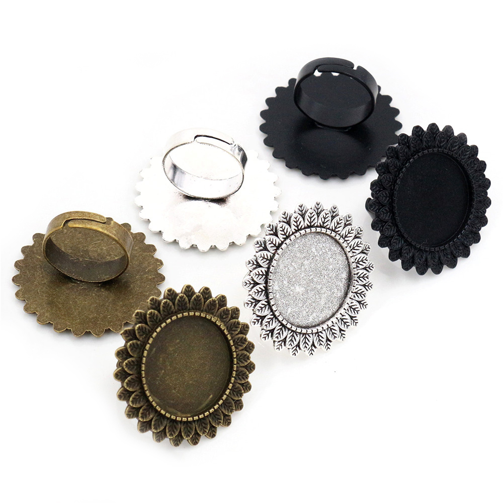 20mm 5pcs Antique Silver Plated Brass Adjustable Ring Settings Blank/Base,Fit 20mm Glass Cabochons,Buttons;Ring Bezels K3-03