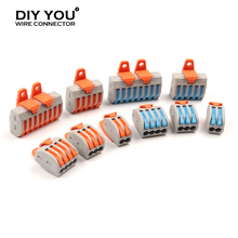 30/50/100Pcs Wire Connector With Fixing Accessories PCT 222 PA TYPE Electric Wiring Compact Connector Conductor Terminal Block цена 2017