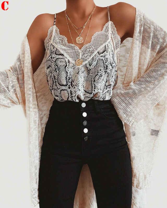 Seksowna damska koronkowa bluzka podkoszulki Cami Camisole Leopard koszulka z jednym ramiączkiem bluzka