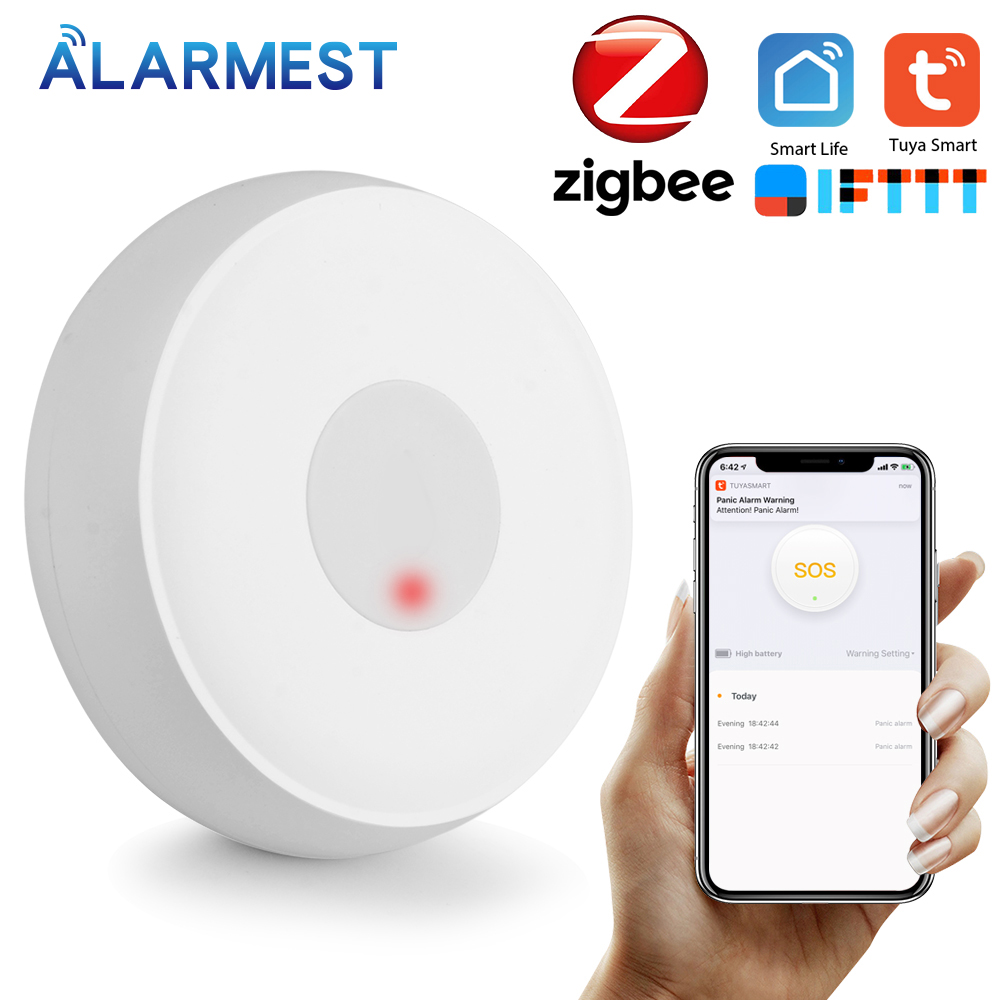 ALARMEST Tuya ZigBee SOS Button Sensor Alarm Elderly Alarm Waterproof Emergency Panic Button Power By Tuya