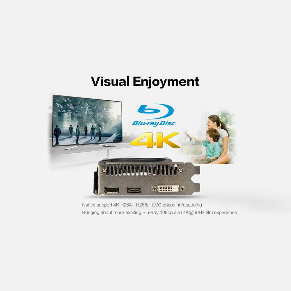 Yeston RX550-4G D5 Graphics Card Gaming Graphic Card with 4GB GDDR5 128Bit Memory 1183MHz/6000MHz DP+HDMI+DVI-D Output Ports 3