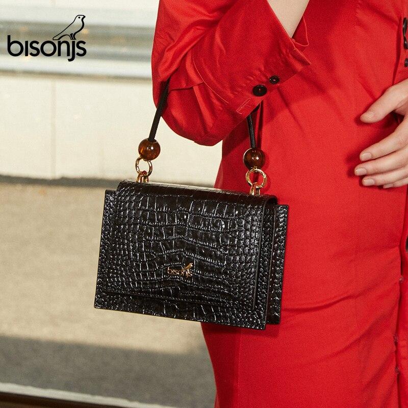 BISONJS Cow Leather Women Bag Alligator Pattern Luxury Shoulder Bag Female Handbags High Quality Crossbody Bags B1845