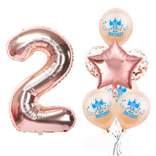 2nd Birthday Balloon Set Happy 2 Years Birthday Party Decorations Kids Toys Helium Blue Pink Latex Balloon Confetti Boy Girl 75D(China)