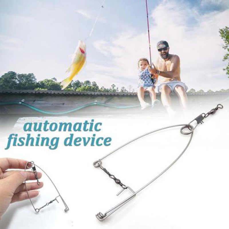 Newly 5Pcs Smart Kingfisher Stainless Steel Hook Trigger Spring Fishing Hook Setter Bait Bite Triggers the Hook Catch Fish BF