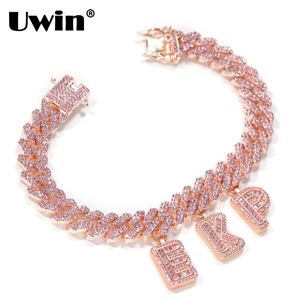 Uwin Fashion Jewelry DIY Baguette Letters with 12mm Rose Gold S-Link Miami Cuban Necklace Pendants Anklets Charms Hiphop Jewelry