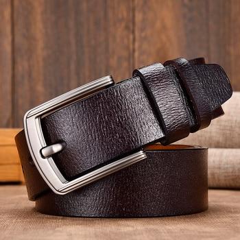 [LFMB] بقرة حقيقية الجلود الفاخرة حزام أحزمة الرجال للرجال الموضة classice خمر دبوس مشبك حزام جلد حزام الذكور حزام الرجال