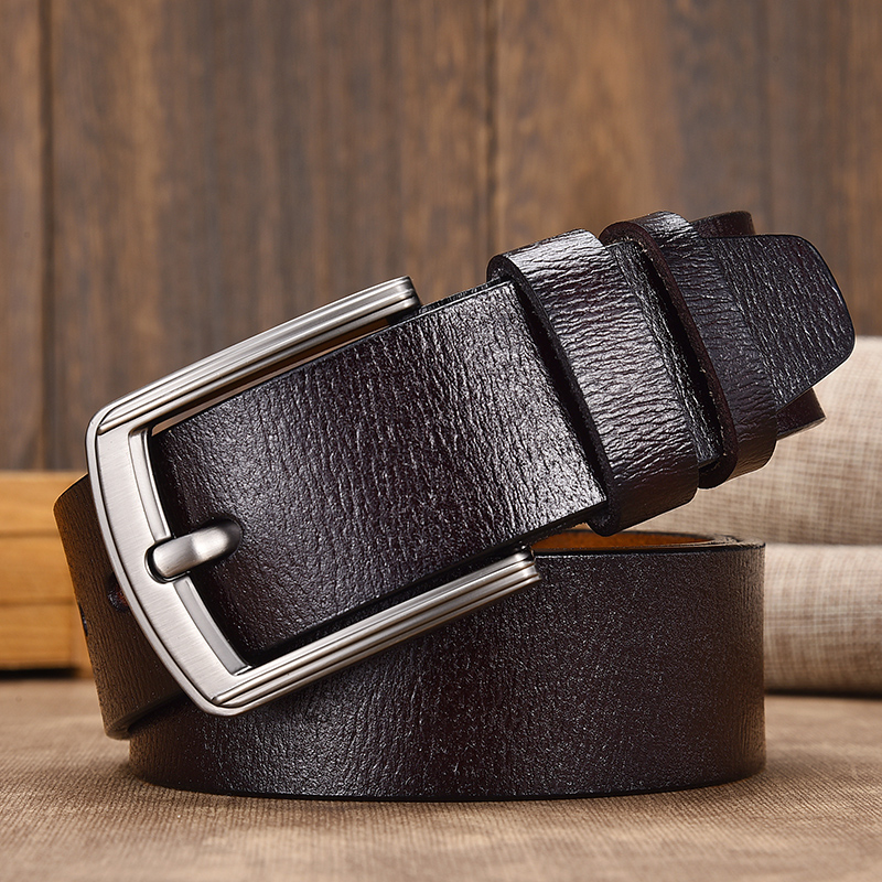 [LFMB]cow Genuine Leather Luxury Strap Male Belts For Men New Fashion Classice Vintage Pin Buckle Leather Belt Male Belt Men