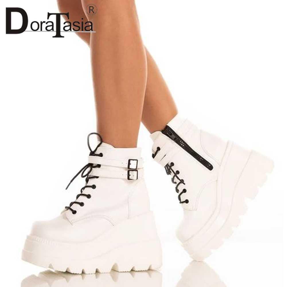 DORATASIA lüks marka yeni INS sıcak bayanlar yüksek Platform çizmeler moda yüksek topuklu yarım çizmeler kadın 2020 parti takozlar ayakkabı kadın