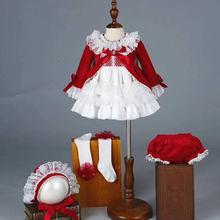 4 piezas Niña Otoño Invierno primavera terciopelo rojo Vintage princesa española Lolita pompón bola Navidad cumpleaños boda fiesta vestido