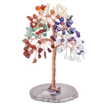 TUMBEELLUWA 7 Chakra Crystal Money Tree with Agate Slice Base Home Table Decor Healing Stones Figurine Ornament for Wealth&Lucky