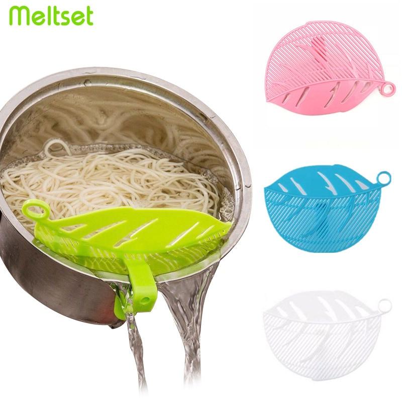 Leaf Shape Rice Wash Colander Baffle Sieve Beans Peas Washing Filter Clip Spaghetti Noodle Wash Strainer Colander Kitchen Gadget