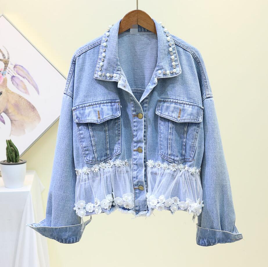 2019 autumn Korean heavy work beaded stitching lace Slim waist denim short   jacket   female long-sleeved   basic     jacket   coat r1817