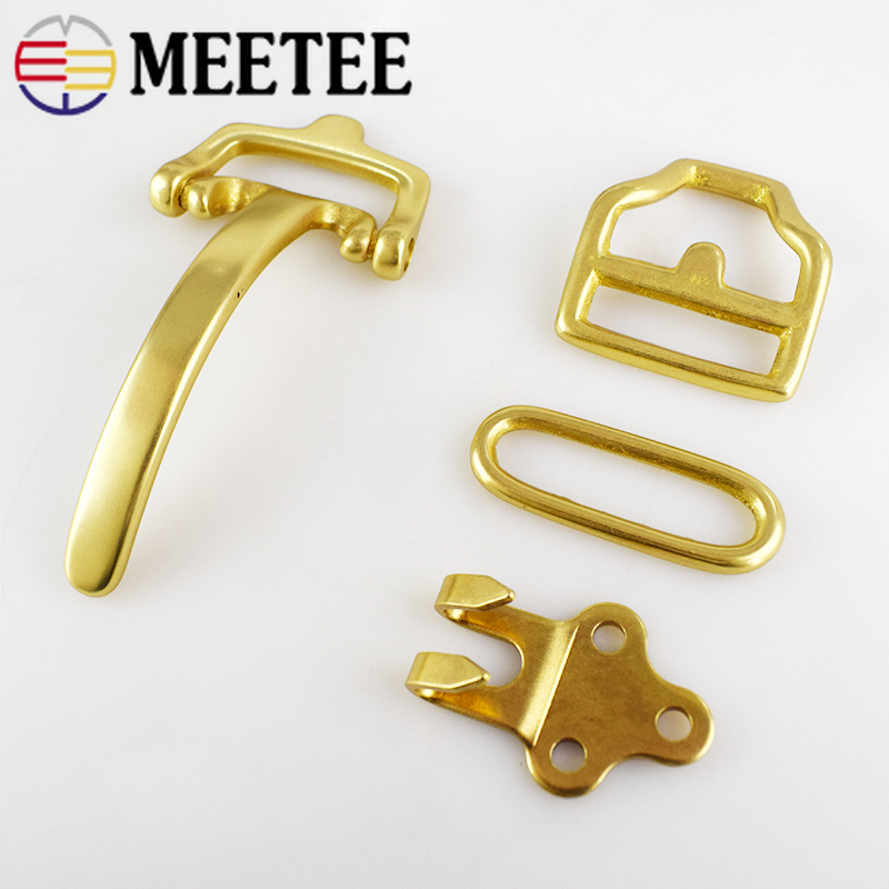 DeePeel 1Set=4pcs Solid Brass Belt Buckle Cavalry Bag Buckle DIY Handmade Leather Craft For 38mm Belt With Rivet Screws Material