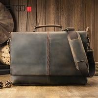 AETOO Leather retro men's briefcase, leather horizontal square computer bag, leather casual business handbag