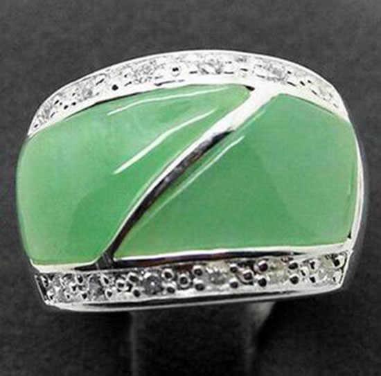 จัดส่งฟรีหินสีเขียวธรรมชาติ 22X16 มม.เงิน Marcasite แหวนขนาด 7/8/9/10