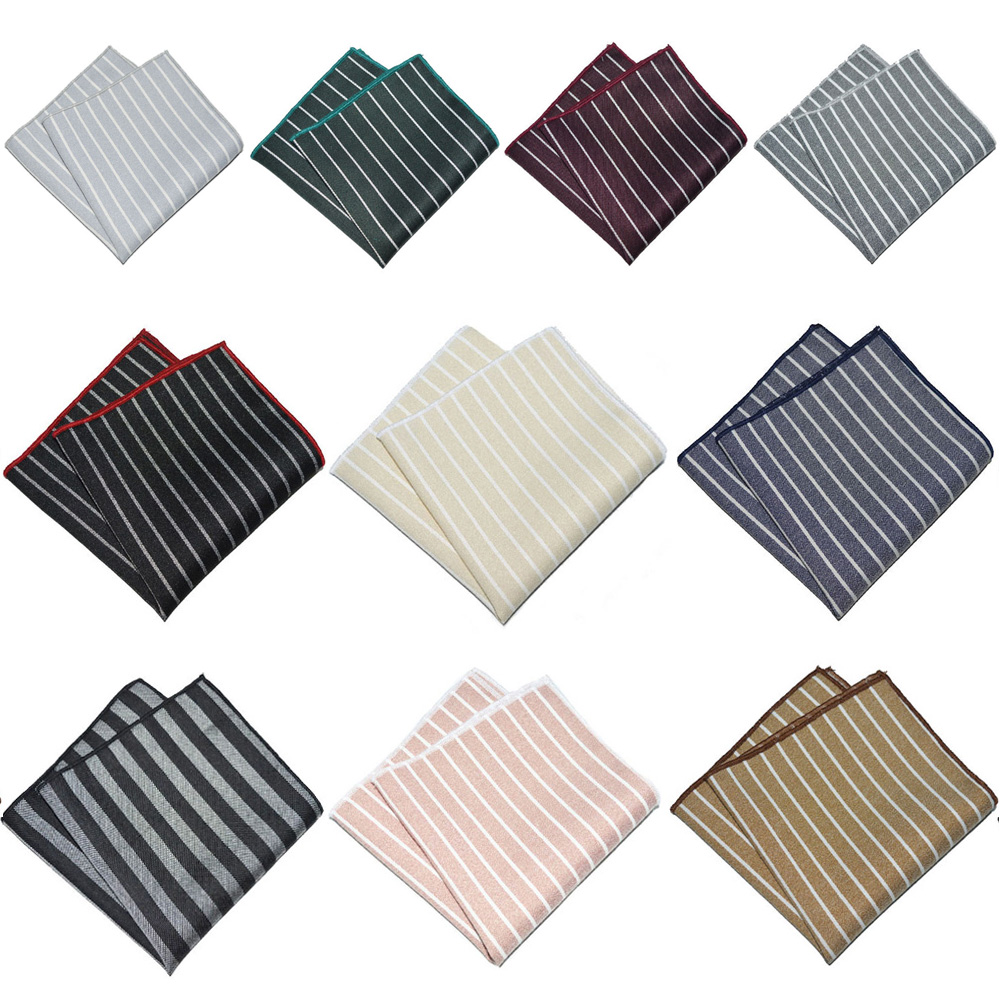 Men Business Pocket Square Striped Hanky Formal Handkerchief Wedding Party