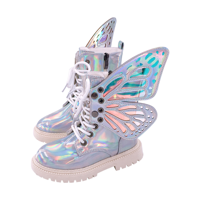 Kids Shoes 2019 Autumn Fashion Girls Black Mirror Martin Boots Boys Wing Casual Shoes For Children High Top Shoes MB0088