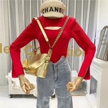 Designer T Shirt Women Hollow Out  Solid O-Neck High Street Korean Fashionable Womens Shirts Tee Femme 2019 Fall
