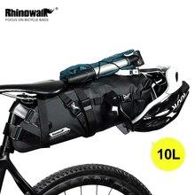 Rhinowalk Bolso para sillín de bicicleta, bolsa impermeable, reflectante, de gran capacidad, plegable, trasero, color negro, para ciclismo de montaña