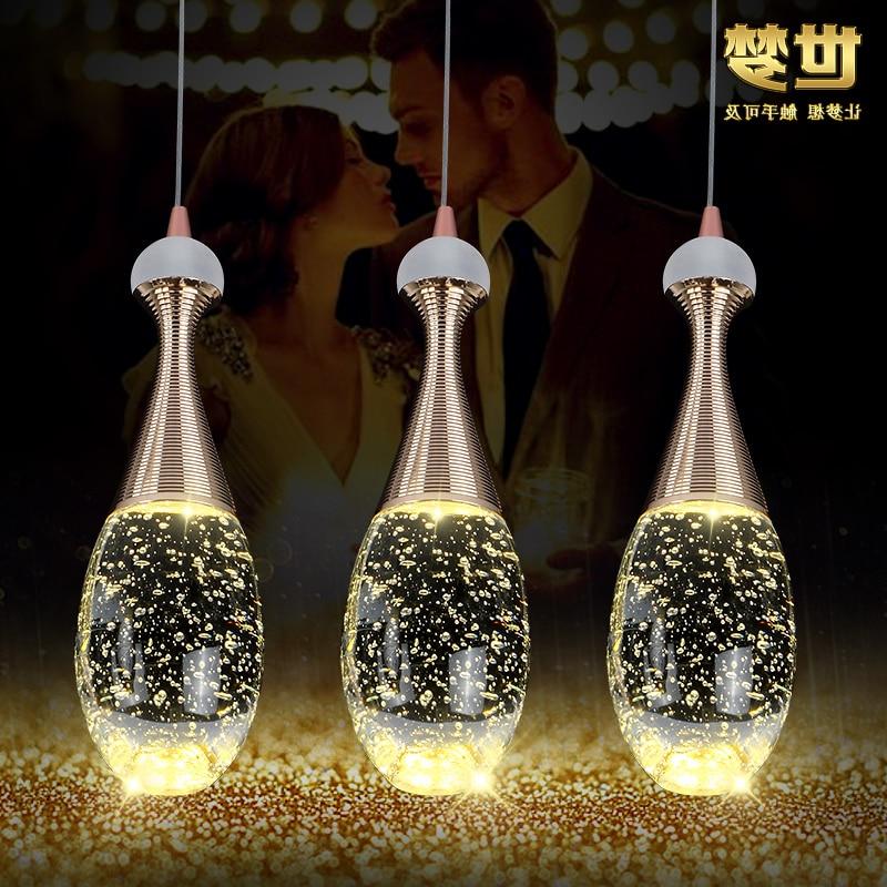 Modern Glass Bottle Crystal Bubble Pendant Light Restaurant Dinging Room Bar Hanging Lighting Ing Hanglamp
