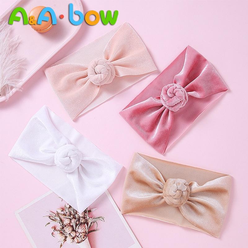 1PCS  New Cute Wide Nylon Headbands Flower Bow Trim Nylon Bow Head Wrap, Knot Nylon Headwear Turban Baby Girls Hair Accesseries