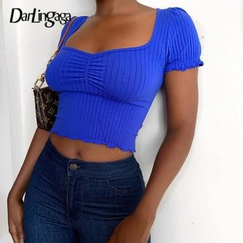 Darlingaga Fashion Ruched Bodycon Female T-shirt Short Sleeve Crop Top Solid Basic Women's T shirt Summer Tee Shirts Cropped New