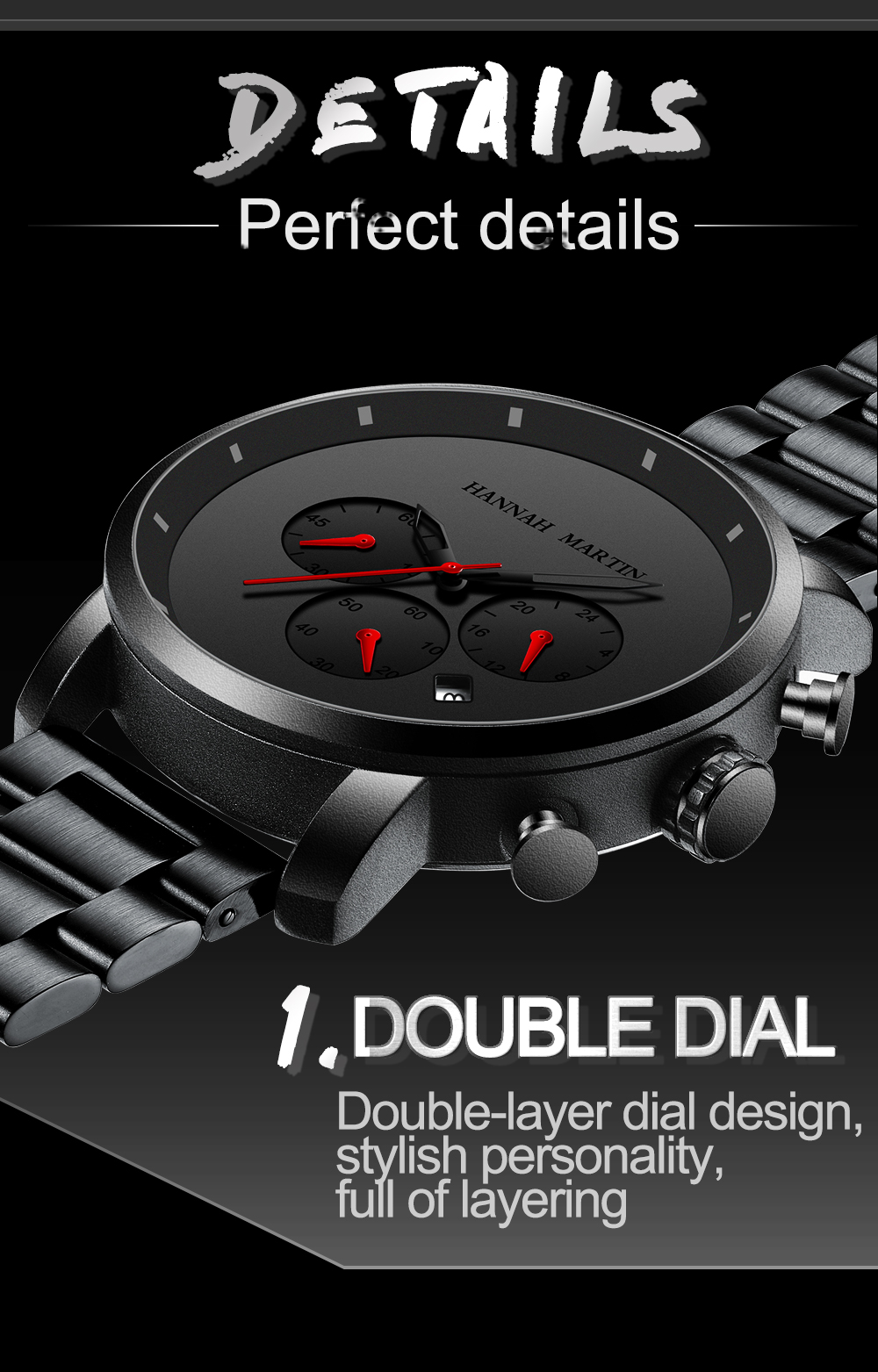 Hd7618071bf064df8a63ec48e983b3838Q DropShipping Big Dial 45mm Full Black Stainless Steel Multi-function Calendar Men's Top Brand Luxury Watches Relogio Masculino