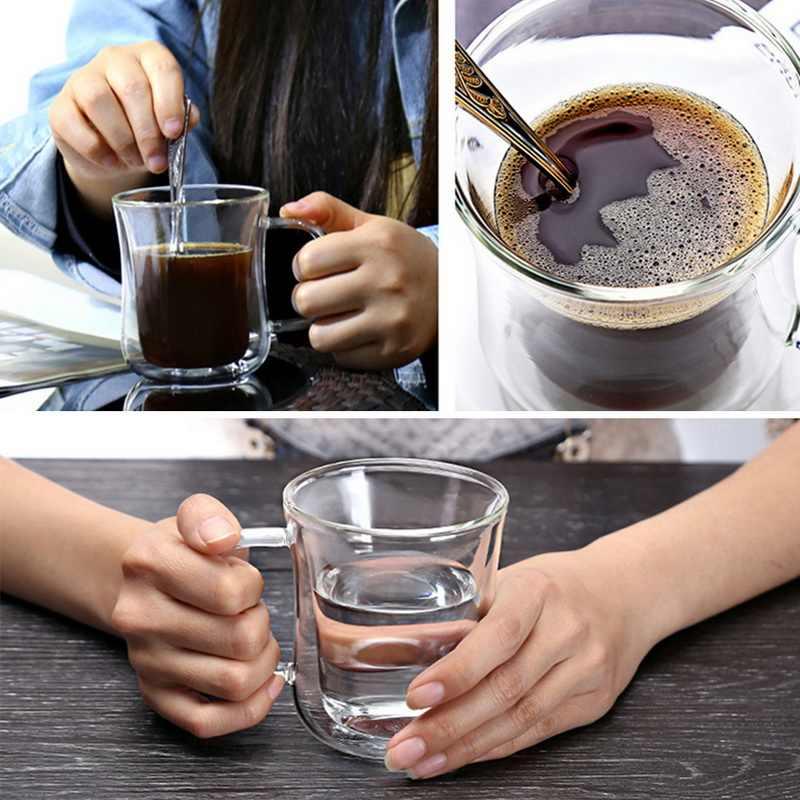 Kubek z podwójną ścianką kubek do kawy izolacja cieplna kubki biurowe podwójna szklanka do kawy Drinkware mleko Travel Camping kubki Drophipping