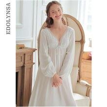 Vintage Sexy ropa de dormir mujer algodón camisón Medieval blanco profundo cuello pico espalda descubierta princesa vestido de noche de talla grande Lencería T42