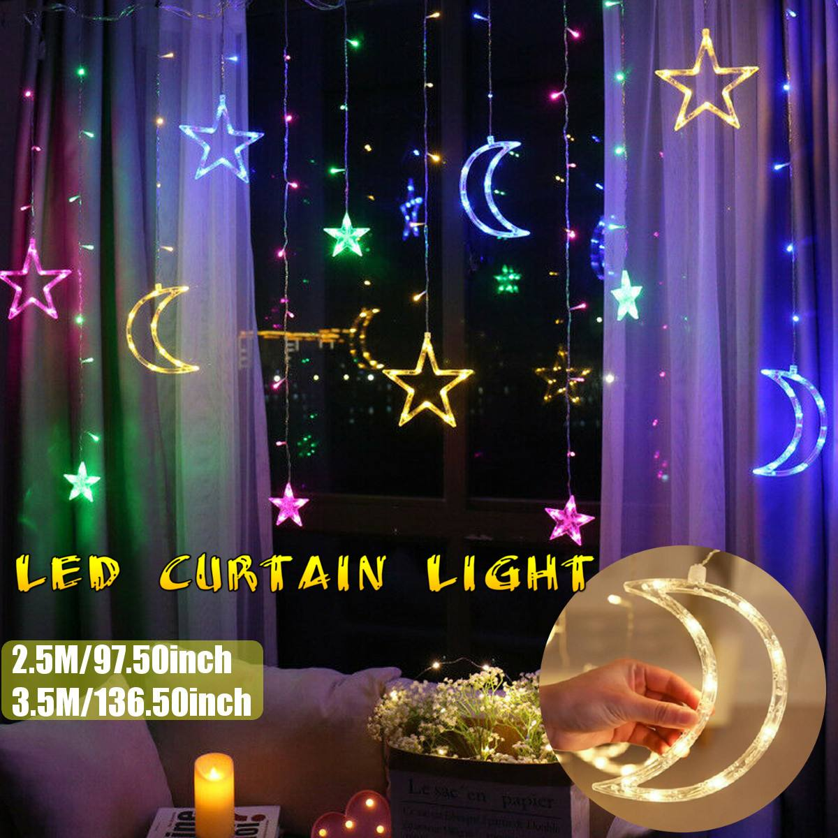 2.5/3.5m LED String Lights Pentagram Star Curtain Light Fairy Wedding Birthday Christmas Lighting Indoor Decoration Light 220V