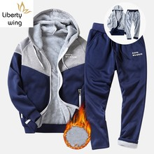 Fashion Winter Men Sets Jacket+Pant Thick Sweatsuit 2 Piece Set Tracksuit For Man Costume Sporting Homme M-4XL Male Zipper Blue(China)