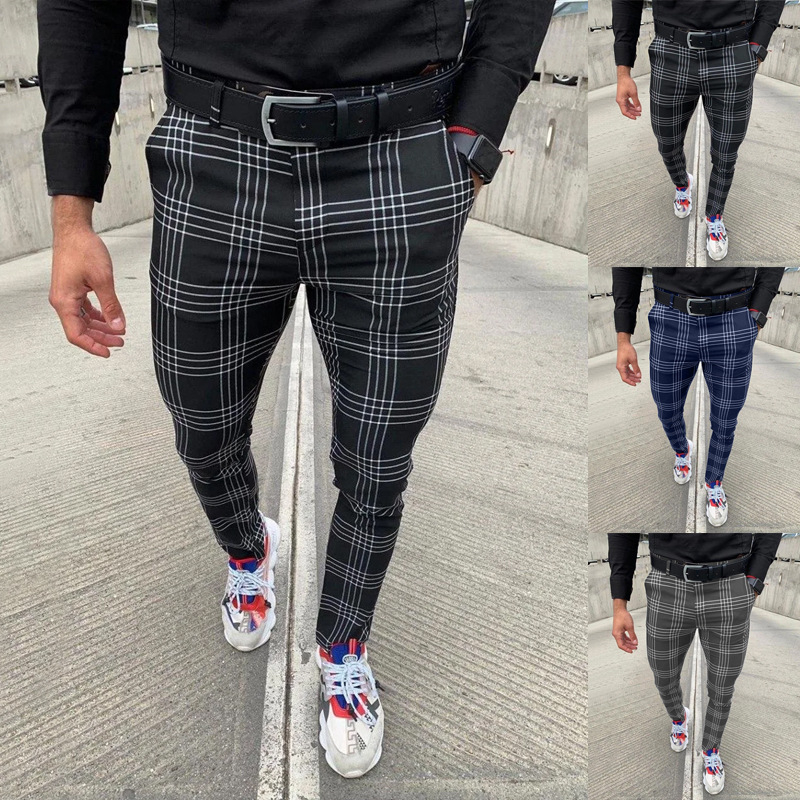 Sexy High Wasit spring Autumn Fashion pocket Men's Slim Fit Plaid Straight Leg Trousers Casual Pencil Jogger Casual Pants